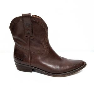 {LUCKY BRAND} Chantel Western Leather Booties 9.5
